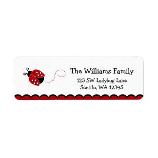 Etiqueta roja linda del remite de la mariquita etiqueta de remite