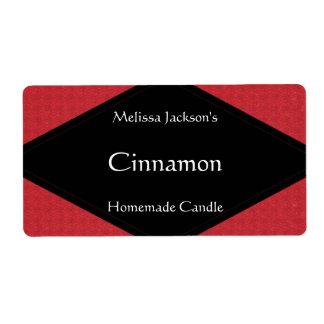 Etiqueta roja reluciente del jabón o de la vela etiqueta de envío