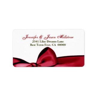 Etiqueta roja romántica del boda del arco etiqueta de dirección