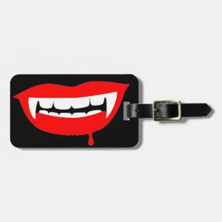 Etiqueta roja sangre del equipaje de los labios etiquetas bolsa