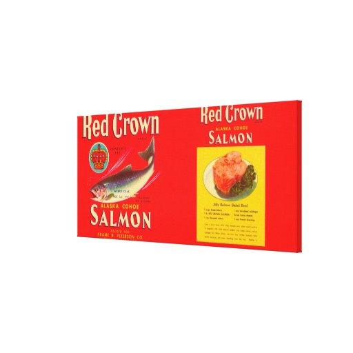 Etiqueta roja Seattle, WA de los salmones de la ma Lona Envuelta Para Galerías