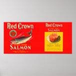 Etiqueta roja Seattle, WA de los salmones de la ma Póster