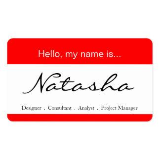 Etiqueta roja y blanca del nombre corporativo - tarjetas de visita