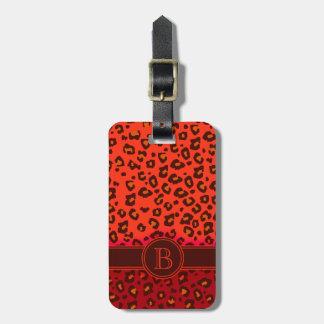 Etiqueta rojo marrón del equipaje del monograma de etiquetas maleta