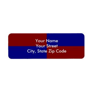 Etiqueta rojo oscuro y azul del remite de los etiqueta de remite