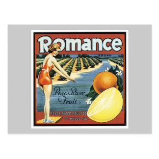 Etiqueta romántica de la fruta del vintage tarjetas postales