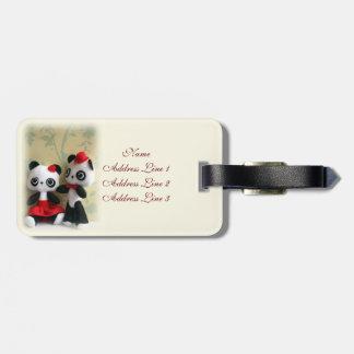 Etiqueta romántica del equipaje de panda de los pa etiqueta de maleta