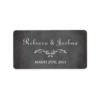 Etiqueta romántica del favor del boda de la pizarr etiqueta de dirección