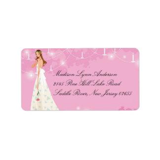 Etiqueta romántica en colores pastel rosada del re etiqueta de dirección