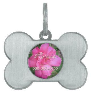 Etiqueta rosada adaptable del mascota del rosa placas mascota