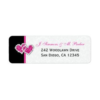 Etiqueta rosada blanca negra del remite de los cor etiquetas de remite