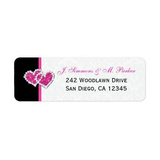 Etiqueta rosada blanca negra del remite de los cor etiqueta de remite