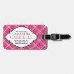 Etiqueta rosada brillante femenina del equipaje de etiquetas de equipaje