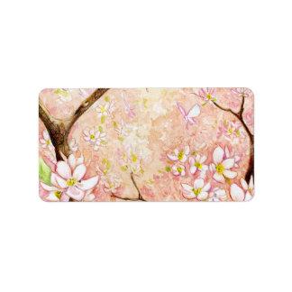 Etiqueta rosada de Avery de la opinión del flor Etiqueta De Dirección