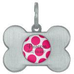 Etiqueta rosada de encargo del lunar placas de mascota