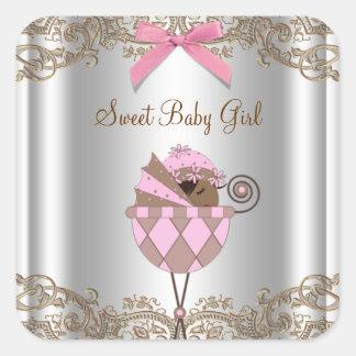 Etiqueta rosada de la fiesta de bienvenida al bebé