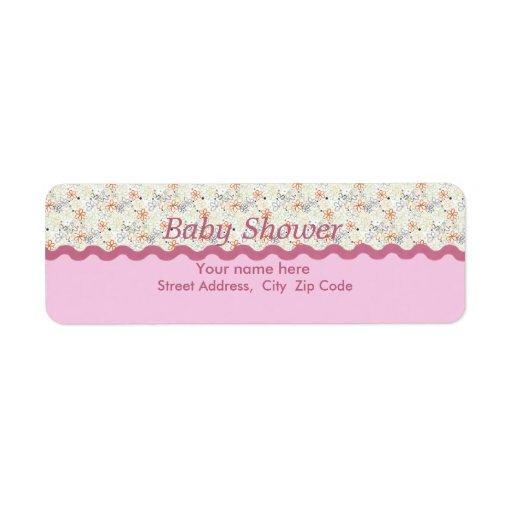 Etiqueta rosada de la fiesta de bienvenida al bebé etiquetas de remite