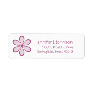 Etiqueta rosada de la flor etiqueta de remitente