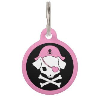 Etiqueta rosada de la identificación del mascota d identificador para mascota
