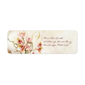 Etiqueta rosada de la orquídea etiqueta de remite