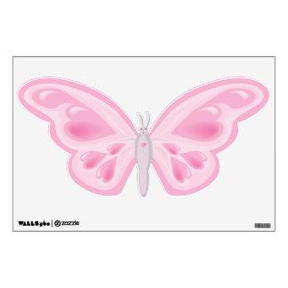 Etiqueta rosada de la pared de la mariposa del cor