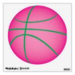 Etiqueta rosada de la pared del baloncesto