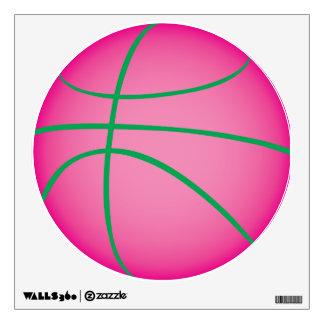 Etiqueta rosada de la pared del baloncesto vinilo adhesivo