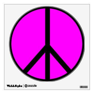 Etiqueta rosada de la pared del signo de la paz