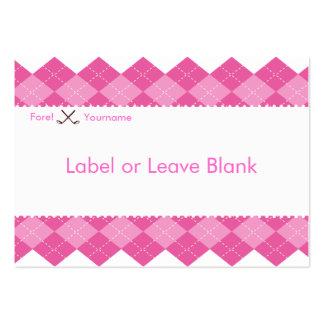 Etiqueta rosada de la tabla del fiesta del golf de tarjeta personal