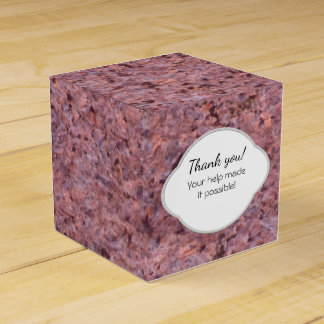 Etiqueta rosada de la textura de la roca de la caja para regalo de boda