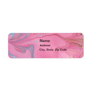 Etiqueta rosada de los remolinos de la tinta etiquetas de remite