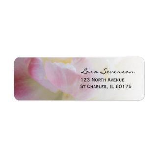 Etiqueta rosada de lujo del remite del tulipán etiqueta de remite