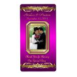 Etiqueta rosada del boda del vino del oro de la gr etiquetas de envío