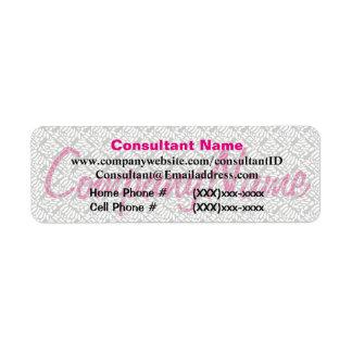 Etiqueta rosada del consultor de las ventas etiquetas de remite