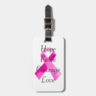 Etiqueta rosada del equipaje de la fe de la cinta etiquetas de maletas