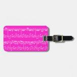 Etiqueta rosada del equipaje de la partitura etiqueta para equipaje