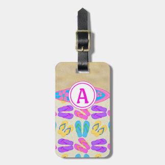Etiqueta rosada del equipaje de la playa de los fl etiquetas de maletas