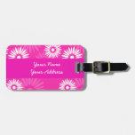 Etiqueta rosada del equipaje de las flores del ver