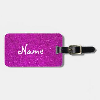 Etiqueta rosada del equipaje del brillo con falsas etiquetas bolsa