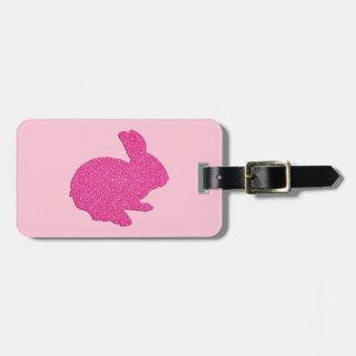 Etiqueta rosada del equipaje del conejito de etiquetas para maletas