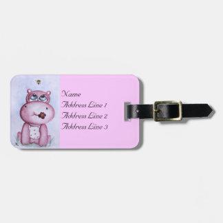 Etiqueta rosada del equipaje del hipopótamo etiquetas para maletas