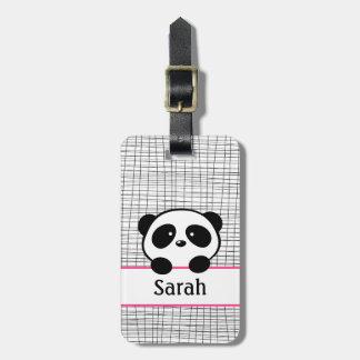 Etiqueta rosada del equipaje del oso de panda etiquetas maleta
