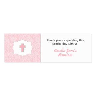 Etiqueta rosada del favor del bautismo del damasco tarjetas de visita mini