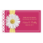 Etiqueta rosada del favor del boda de la margarita tarjetas de visita