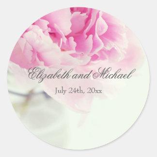 Etiqueta rosada del favor del boda del tarro de