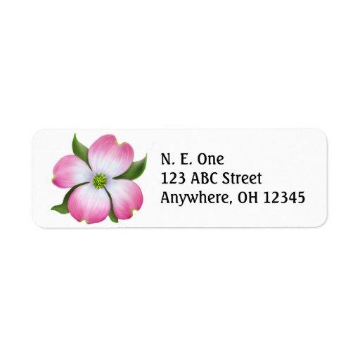 Etiqueta rosada del flor del Dogwood Etiquetas De Remite