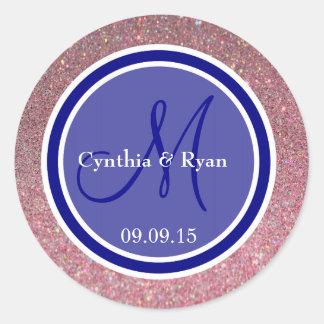 Etiqueta rosada del monograma del boda del brillo