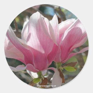 Etiqueta rosada del pegatina de la foto de la flor