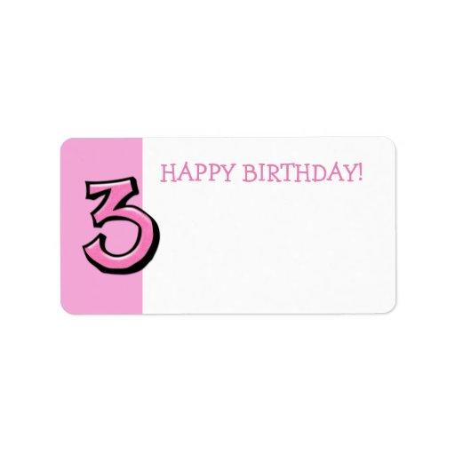 Etiqueta rosada del regalo de cumpleaños del númer etiquetas de dirección