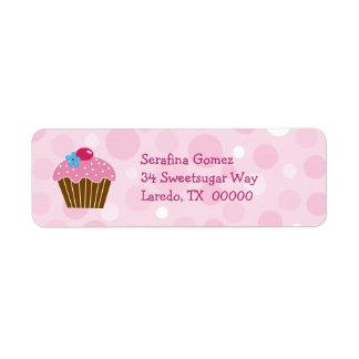Etiqueta rosada del remite de la magdalena etiqueta de remite